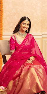 Keerthy Suresh in Red Dress with Cute Smile for Latest Ad Shoot Images 1