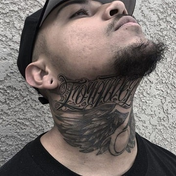 word neck tattoos