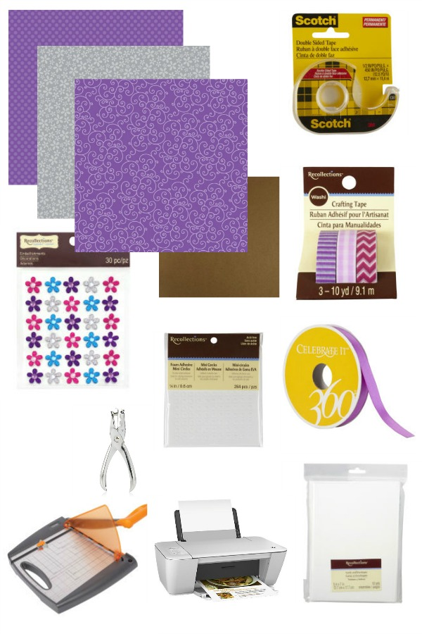 Materials needed to make DIY Purple teddy bear invitations for a girl's first birthday party