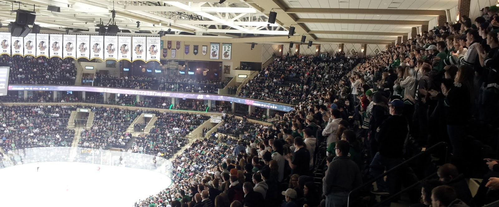 behind the mic essay this is hockey country north dakota s student section packed and standing