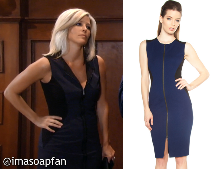 Carly Corinthos's Navy Blue and Black Zip Front Colorblock Dress - General Hospital, Season 54, Episode 09/14/16