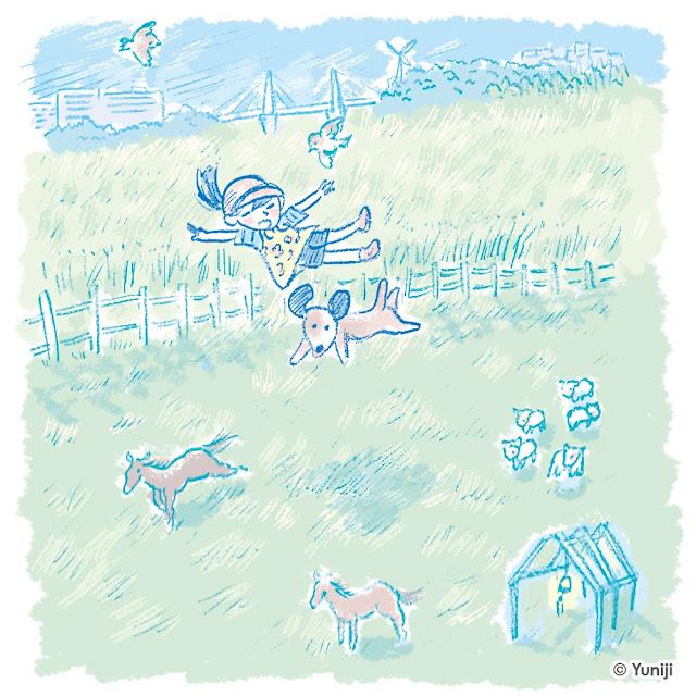 児童幼児雑誌向けの手描きタッチによるイラスト