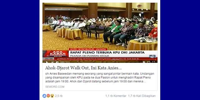 Ahok Djarot Walkout, Netizen Pertanyakan Keterlambatan KPUD dan Anies Sandi