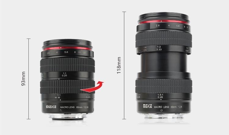 Объектив Meike 85mm f/2.8 Macro значительно меняет свою длину при фокусировке