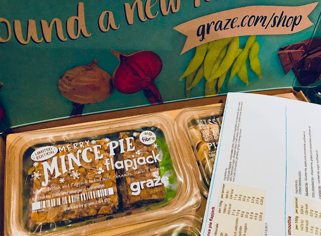 A graze box with a close up of the flapjack packet