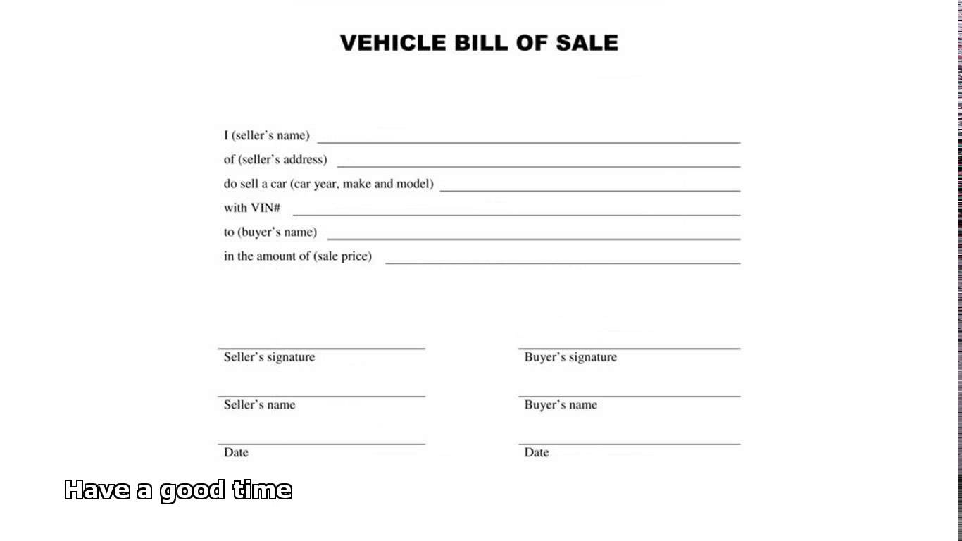 Bill of sale for Nh motor vehicle bill of sale template