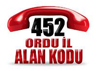 0452 Ordu telefon alan kodu