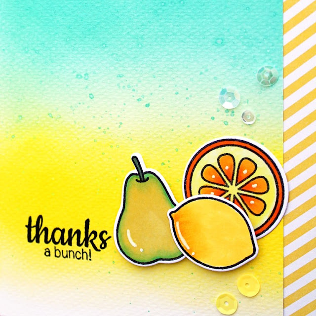 Sunny Studio Stamps: Fresh & Fruity Thanks A Bunch Pear, Lemon & Orange Card by Vanessa Menhorn.