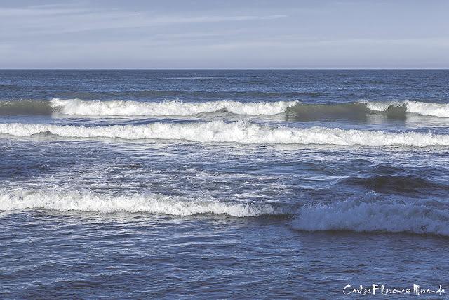 Paisaje marino con oleaje en el mar.
