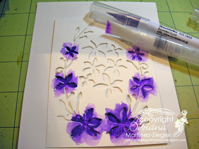 dies as stencils color with watercolors flowers