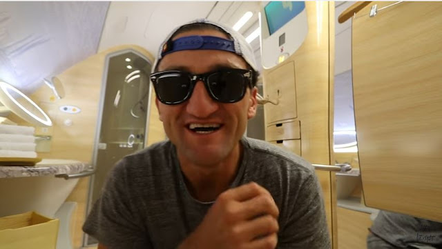 Casey Neistat Emirates upgrade shower