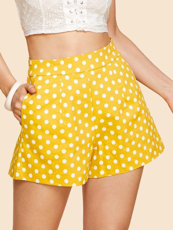 short lunares amarillos