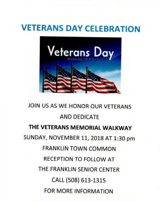 Veterans Day Celebration - Nov 11 at 1:30 PM on the Franklin Town Common