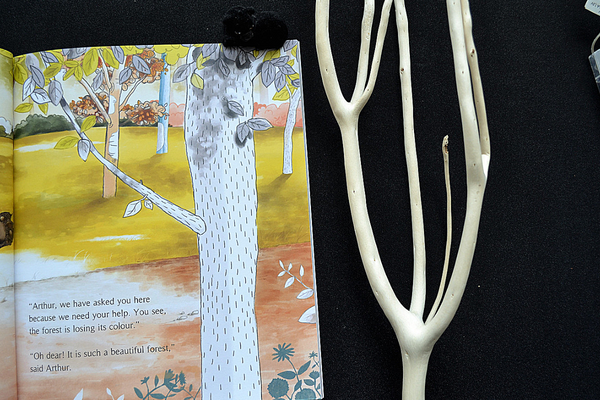 a natural branch woth no colour for the personalised book the tree the key and me