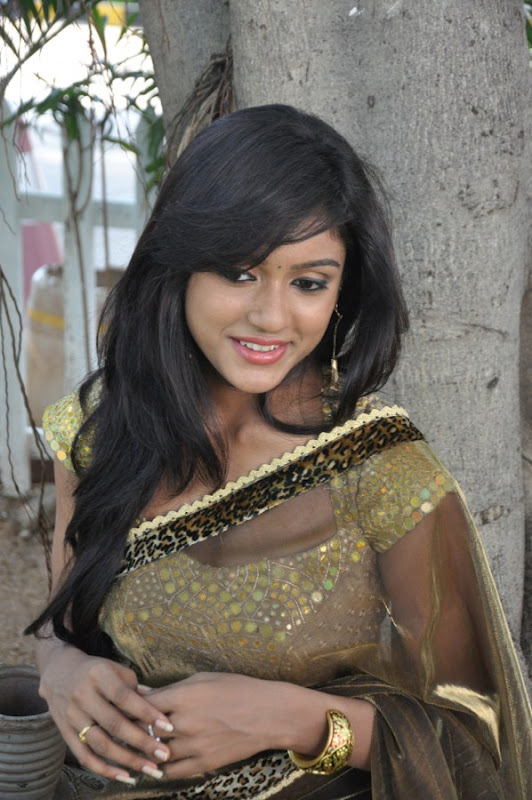 cute and beloved Keerthi latest hot stills in transparent saree