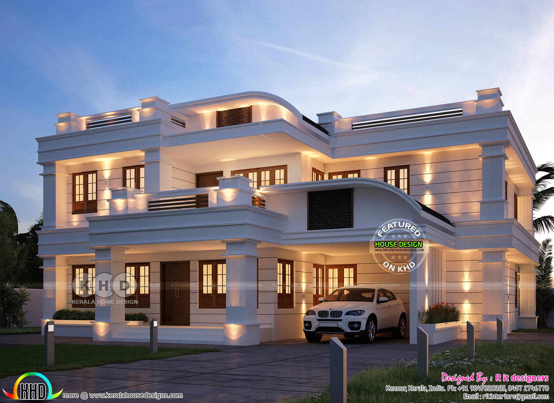 5 Bedroom Grand And Stylish Kerala Home Design Kerala Home Design And Floor Plans 8000 Houses