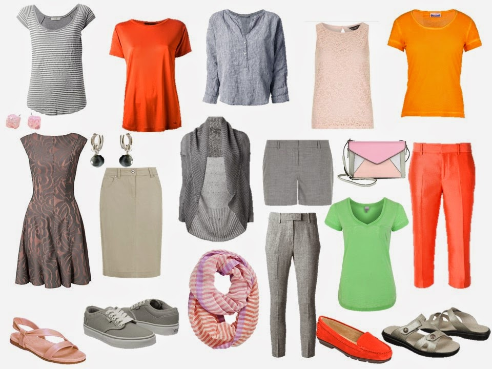 Travel capsule wardrobe in colors taken from The Libyan Sibyl by Michelangelo
