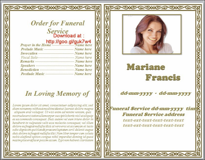 Memorial Pamphlets Free Templates preprinted title letter single – Funeral Template Download