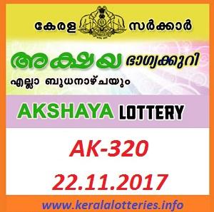 Kerala Lottery Result of Akshaya AK-320 on 22.11.2017