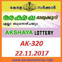 Kerala Lottery Result of Akshaya AK-320 on 22.11.2017