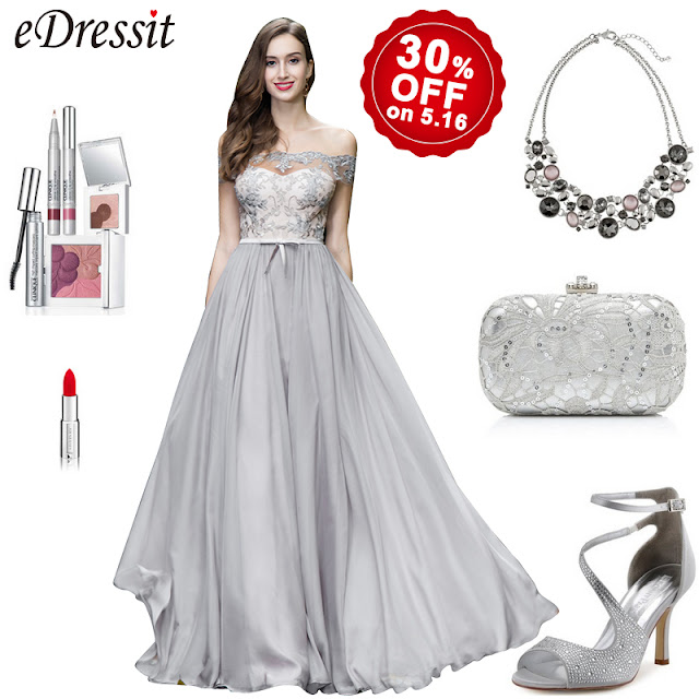 grey off shoulder lace evening gown