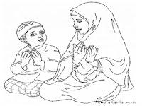 Gambar Mewarnai Muslim Sholat Dan Berdoa Mewarnai Gambar