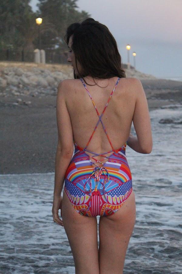 Spaghetti Strap Rainbow Print One-Piece Swimwear