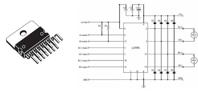 dqsoft  motores dc  dois circuitos integrados de ponte h