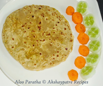aloo paratha in a serving plate