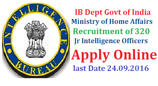Intelligence Bureau IB Govt of India Recruitment Notification 2016 Apply Online @mha.nic.in