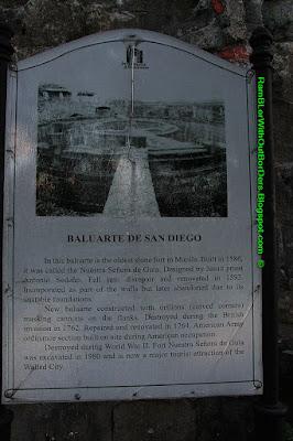 Explanation sign, Baluarte de San Diego, Intramuros, Manila, Philippines