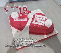 Kue Tart Ulang Tahun Romantis Bentuk Hati