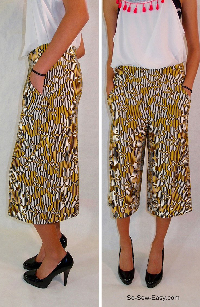 Make a pair of comfortable culottes. Look like you're wearing a skirt when you are wearing pants. Free pattern and tutorial by So Sew Easy.