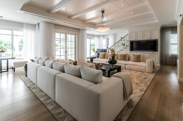 Celine Dion's Florida mansion living room with sectional sofas