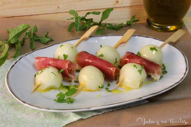 Melón con jamón. Julia y sus recetas