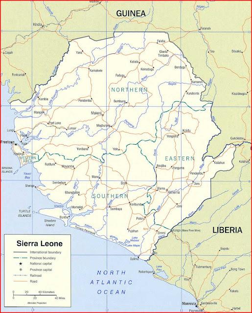 Gambar Peta politik Sierra Leone