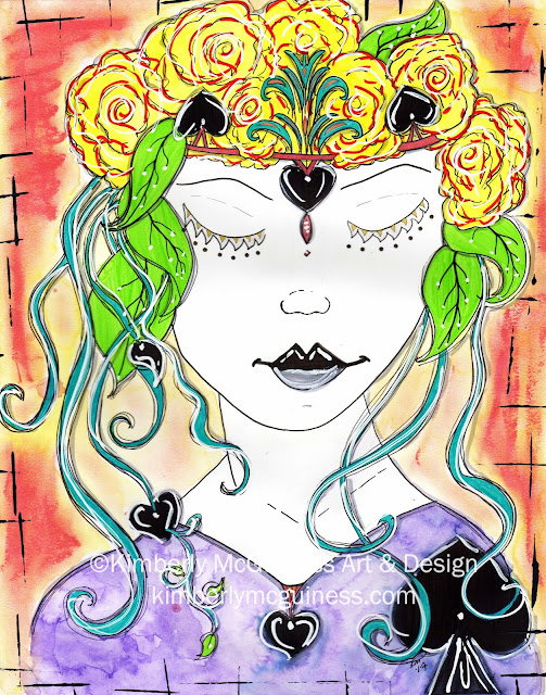 Lady Spade is an 11x14 mixed media piece on smooth bristol paper.