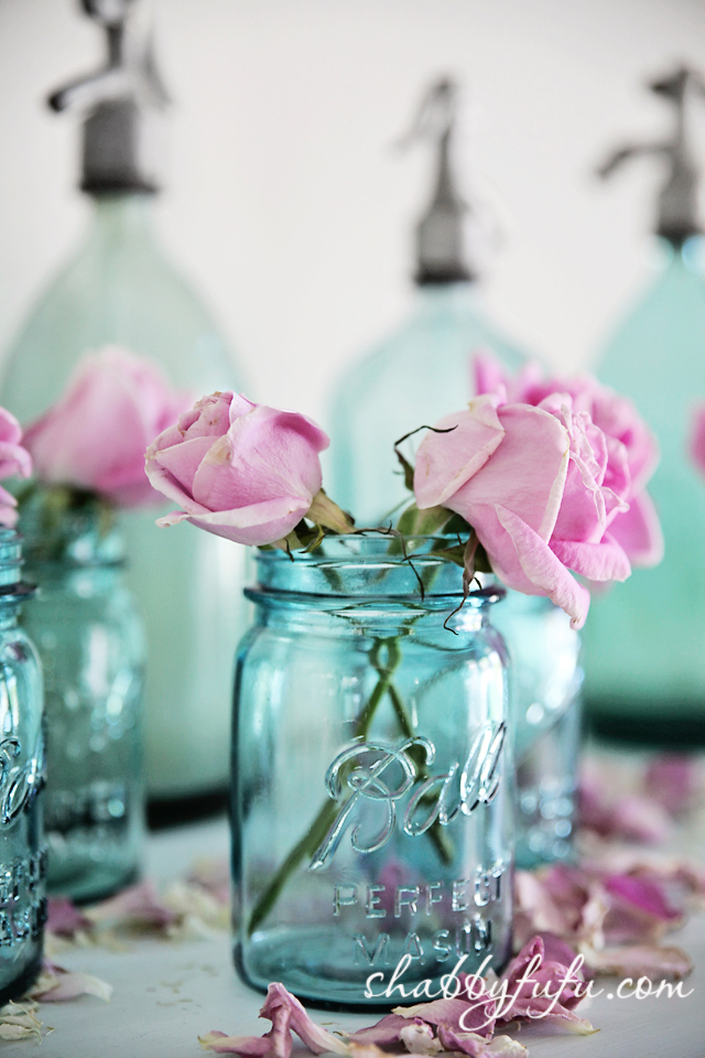mason jars with pink roses