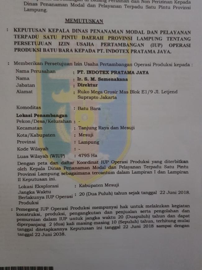Saat Gubernur Lampung  Beri Izin Penambangan Batubara ,  Bupati Mesuji Menolaknya