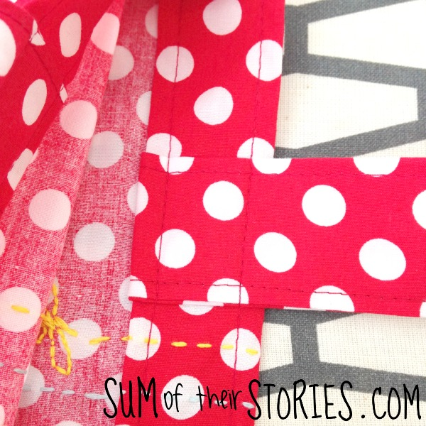Top stitching on a Polka dot embroidered tote bag tutorial