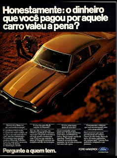 propaganda Ford Maverick - 1976. brazilian advertising cars in the 70. os anos 70. história da década de 70; Brazil in the 70s; propaganda carros anos 70; Oswaldo Hernandez;