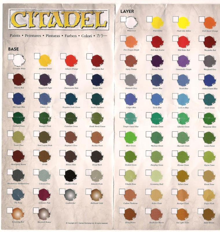 Rumours new citadel paint range colour chart tale of for A 100 paint