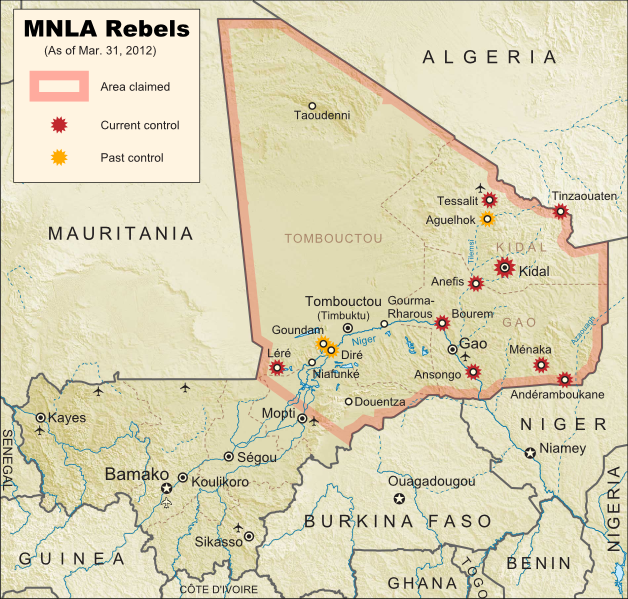 Map of Tuareg rebellion in Northern Mali, showing towns controlled by the MNLA rebel group as of March 31, 2012