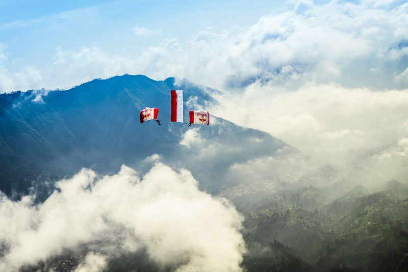 Wingsuit Flying Over Active Volcanoes in Indonesia