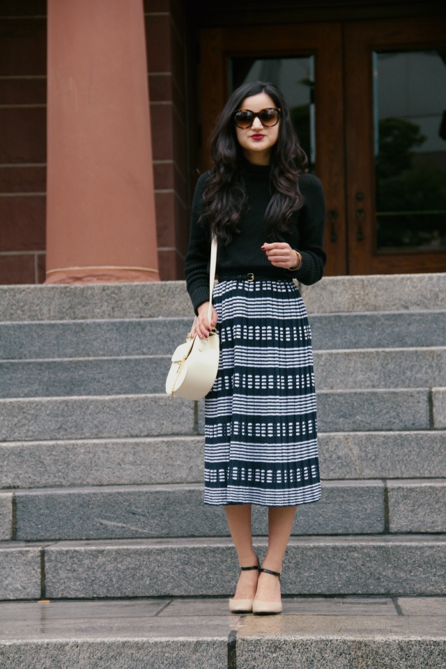 black bp mock neck turtleneck sweater j. crew sweater skirt striped midi