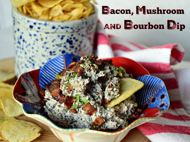 This Bacon, Bourbon Mushroom Dip is peppery and cheesy and slightly sweet with the flavor of bourbon, the saltiness of bacon and the meaty taste of mushrooms!