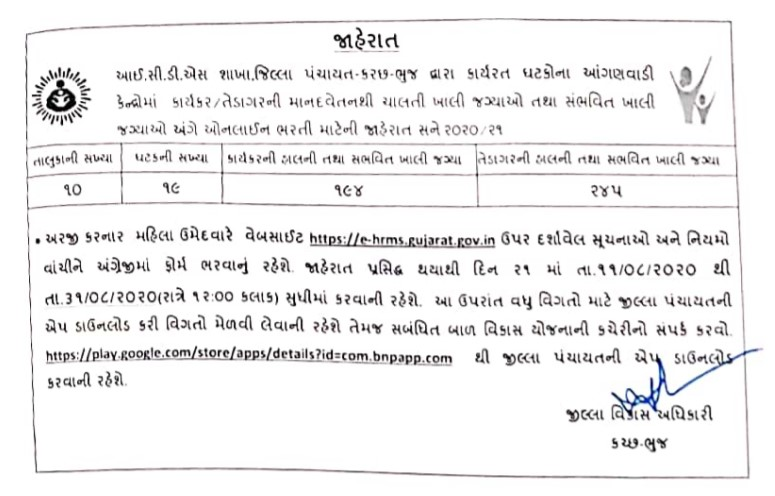 Kutchh Anganwadi Recruitment 2020 @ e-hrms.gujarat.gov.in