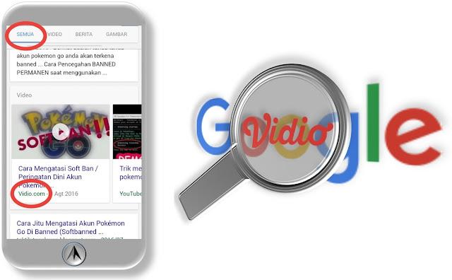 Video Vidio.com tampil di SERP bagian menu All google.co.id