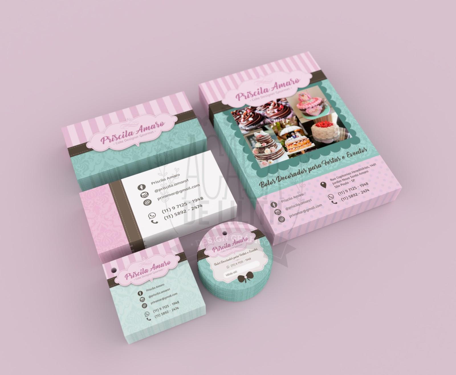 Criação de Papelaria Personalizada - Confeitaria / Cake Designer - Priscila Amaro