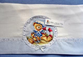 Costura, Enxoval de bebê, ursinho marinheiro, Pintura toalha-fralda, Toalha-fralda, Toalha-fralda: ursinho marinheiro